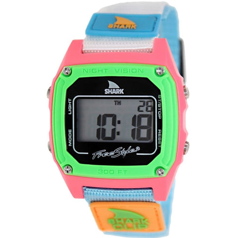 Freestyle Women's FS84861 Shark Clip Digital Watch, Blue/White Nylon Band, Square 37mm Case