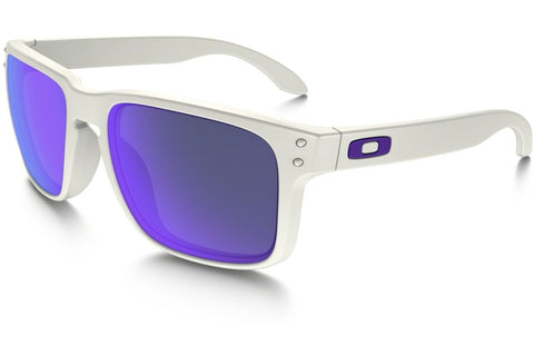 Oakley OO9102-05 Holbrook Sunglasses, Matte White Frame, Violet Iridium 55mm Lenses