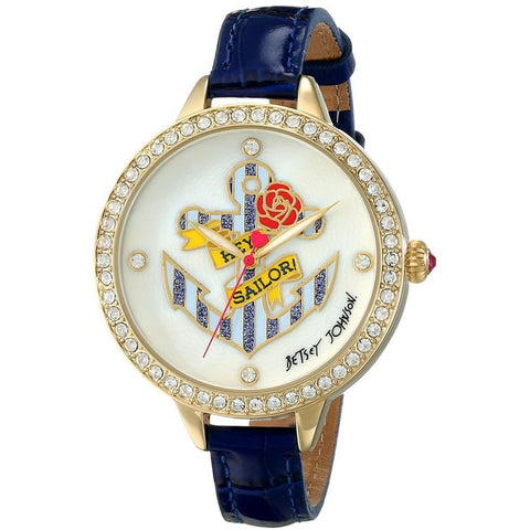 Betsey Johnson BJ00419-02 Women's Analog Display Quartz Watch, Blue Leather Band, Round 42mm Case