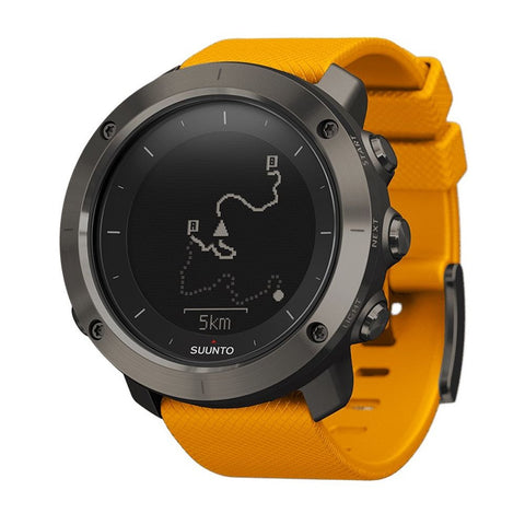 Suunto SS021844000 Traverse Digital Display Quartz Men's Watch, Amber Silicone Band, Round 50mm Case
