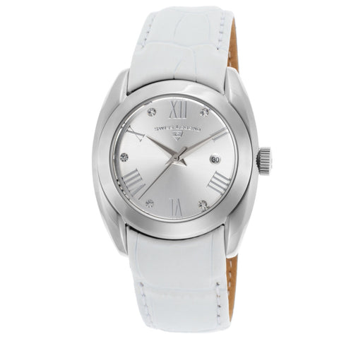 Swiss Legend SL-10550-02S-WHT Liberty Women's Analog Display Quartz Watch, White Leather Band, Round 34mm Case