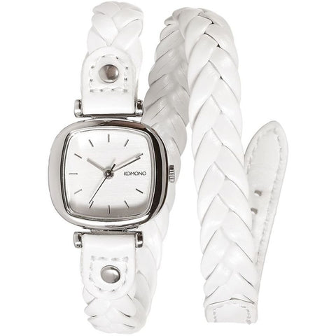 Komono KOM-W1230 Women's Moneypenny Woven White Analog Quartz Watch, White Leather Band, Square 22mm Case