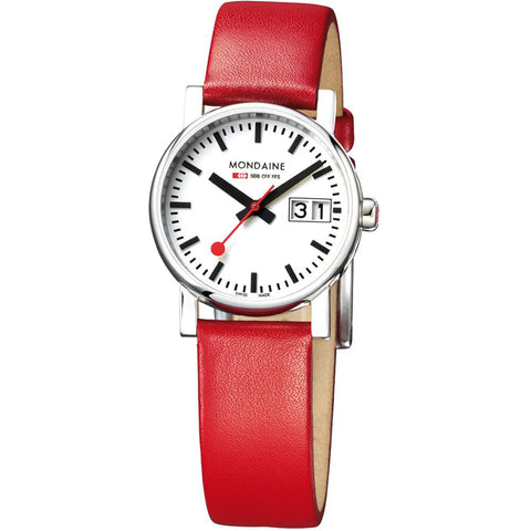 Mondaine A669.30305.11SBC Evo Analog Display Quartz Watch, Red Leather Band, Round 30mm Case