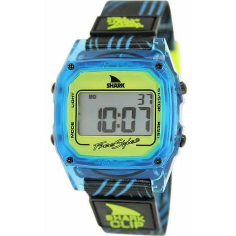 Freestyle Unisex 10017243 Then One Shark Clip Digital Watch, Blue Nylon Band, Square 38mm Case