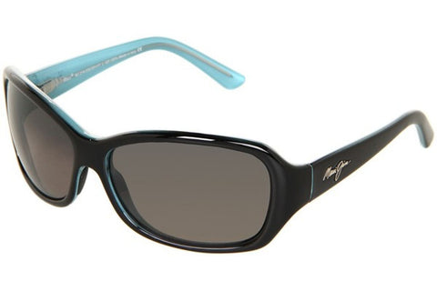 Maui Jim GS214-03A Pearl City Sunglasses, Black with Blue Frame, Neutral Grey Polarized 63mm Lenses