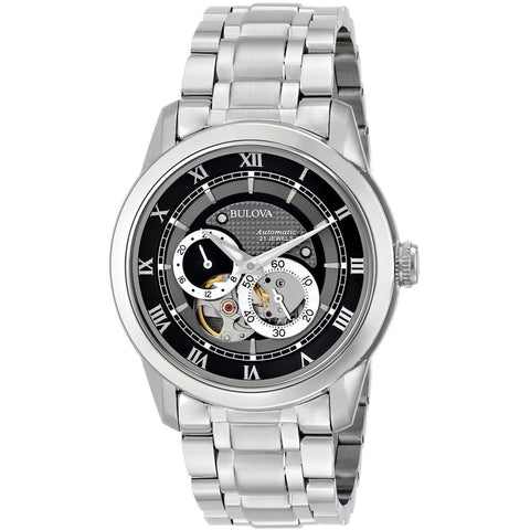 Bulova 96A119 Automatic Analog Display Watch, Silver Stainless Steel Band, Round 42mm Case
