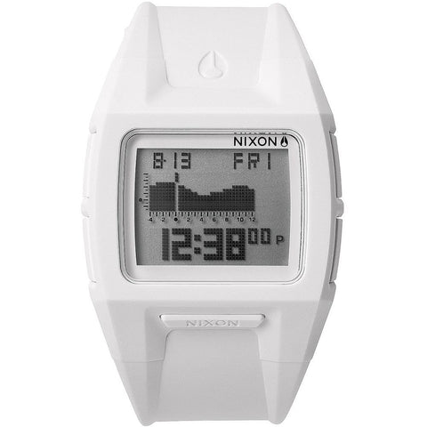 Nixon A289126 Men's Lodown II All White Digital Watch, White Polyurethane Band, Square 43mm Case