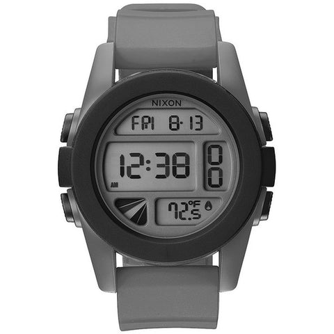 Nixon A197195 Men's Unit Gray/Black Digital Watch, Gray Silicone Band, Round 49mm Case