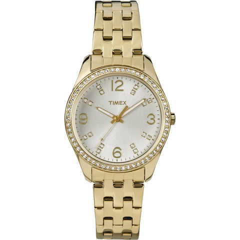 Timex T2P388 Women's Dress Analog Display Quartz Watch, Gold-Tone Stainless Steel Band, Round 32mm Case