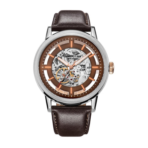 Kenneth Cole KC1718 Men's Analog Display Automatic Watch, Brown Leather Band, Round 46mm Case