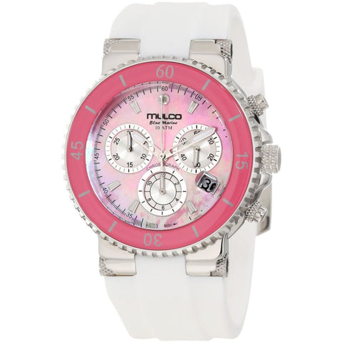 Mulco Women's MW3-70604-018 Bluemarine Analog Watch, White Silicone Band, Round 40mm Case