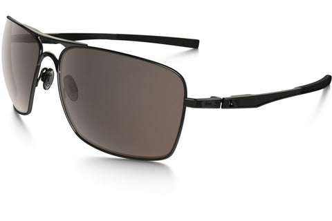 Oakley OO4063 01 Plaintiff Squared Sunglasses, Polished Black Frame, Warm Gray 63mm Lenses