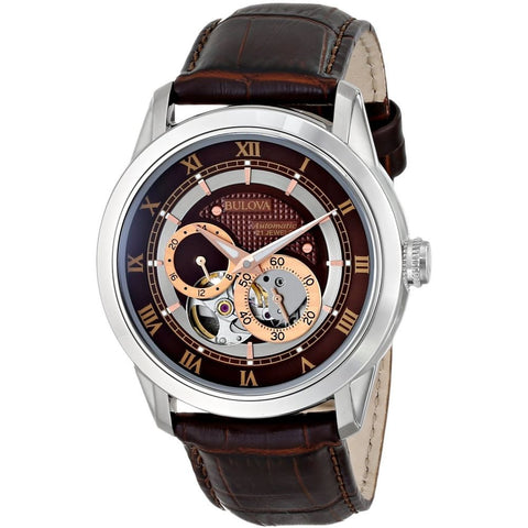 Bulova 96A120 Automatic Analog Display Watch, Brown Leather Band, Round 42mm Case