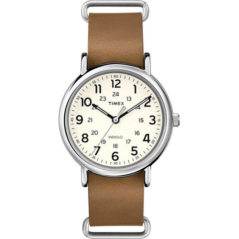Timex T2P492 Weekender 40 Men's Analog Display Quartz Watch, Brown Leather Band, Round 40mm Case