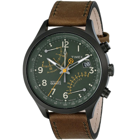 Timex T2P381 Men's Intelligent Fly-Back Analog Display Chronograph Quartz Watch, Brown Leather Band, Round 43mm Case