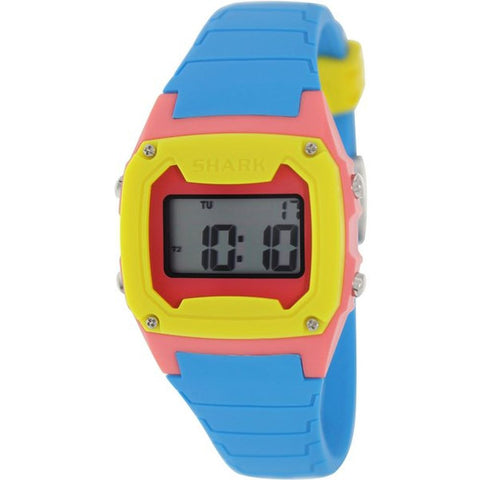 Freestyle Unisex 101810 Shark Classic Cyan/Pink/Yellow Digital Watch, Blue Silicone Band, Square 38mm Case
