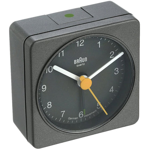 Braun BNC002GYGY Classic Analog Display Quartz Alarm Clock, Grey Square Case