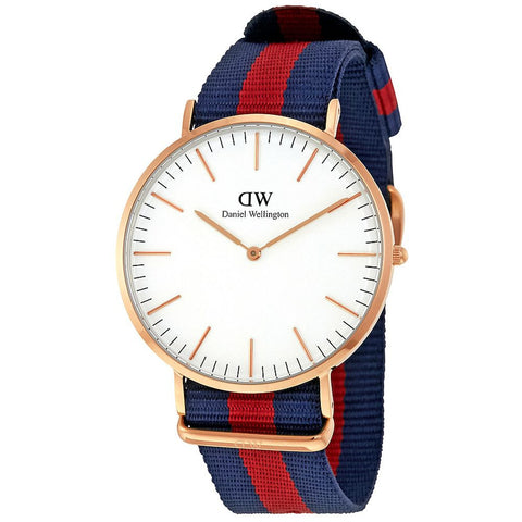 Daniel Wellington 0101DW Oxford Quartz Analog Men's Watch, NATO Nylon Band, Rose Gold 40mm Case