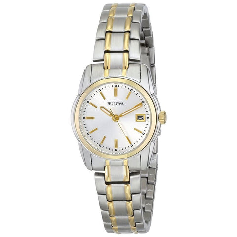 Bulova 98M105 Women's Classic Analog Display Quartz Watch, Two-tone Stainless Steel Band, Round 26mm Case