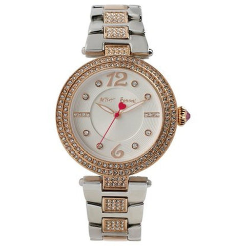 Betsey Johnson BJ00451-03 Analog Display Quartz Watch, Two-Tone Stainless Steel Band, Round 36mm Case