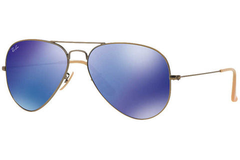 Ray-Ban RB3025 167/68 Aviator Flash Lenses Sunglasses, Gold Frame, Blue/Violet Mirror 58mm Lenses