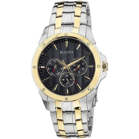 Bulova 98C120 Men's Classic Analog Display Quartz Watch, Two-Tone Stainless Steel Band, Round 43mm Case