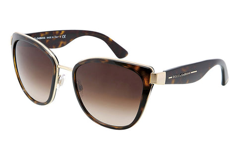 Dolce & Gabbana DG2107 42413 Cat Eye Women's Sunglasses, Gold Frame, Brown Gradient 57mm Lens