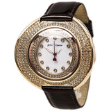Betsey Johnson BJ00486-03 Analog Display Quartz Watch, Brown Leather Band, Round 50mm Case