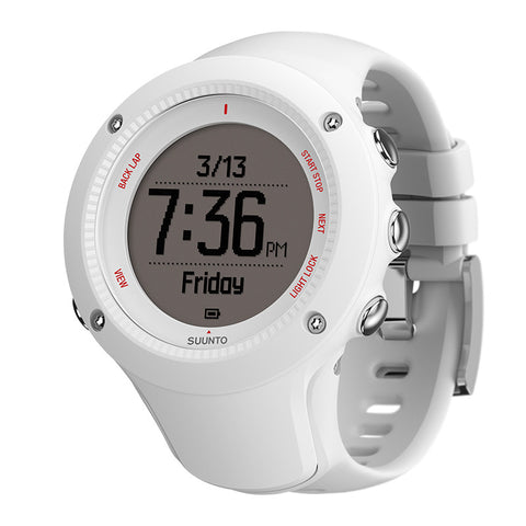 Suunto SS021258000 Ambit3 Run White Digital Display Quartz Watch, White Silicone Band, Round 50mm Case