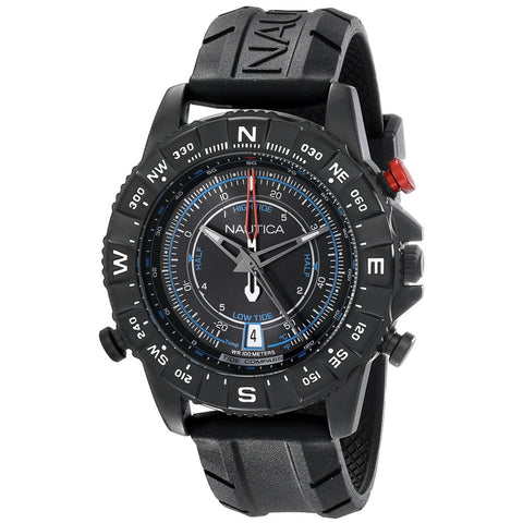 Nautica NAD21001G Men's Analog Display Quartz Watch, Black Rubber Band, Round 46mm Case