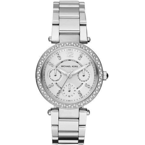 Michael Kors MK5615 Mini Parker Analog Display Quartz Watch, Silver Stainless Steel Band, Round 33mm Case