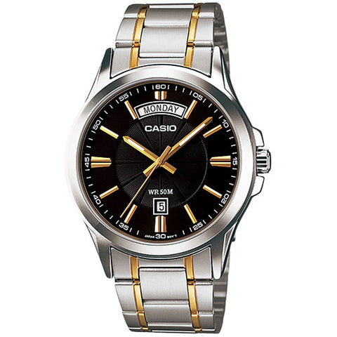 Casio MTP-1381G-1AVDF Enticer Analog Display Quartz Watch, Two-Tone Stainless Steel Band, Round 40mm Case