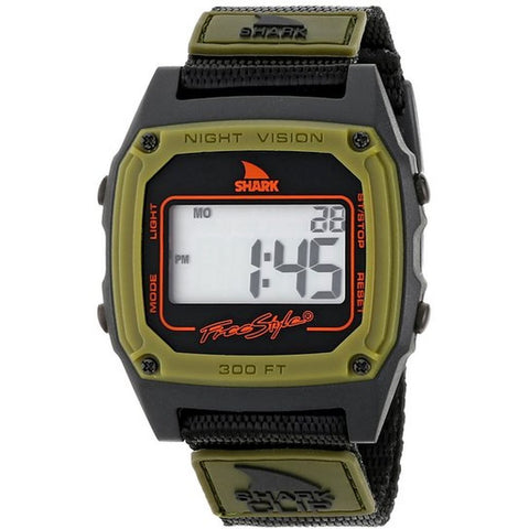 Freestyle Men's 103327 Shark Clip Green/Black Digital Watch, Black Nylon Band, Square 37mm Case