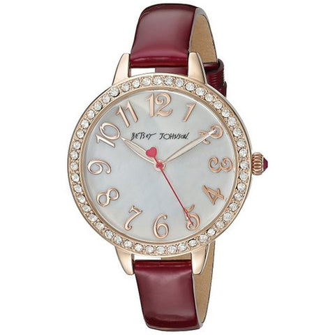 Betsey Johnson BJ00552-05 Women's Analog Display Quartz Watch, Red Leather Band, Round 38.5mm Case