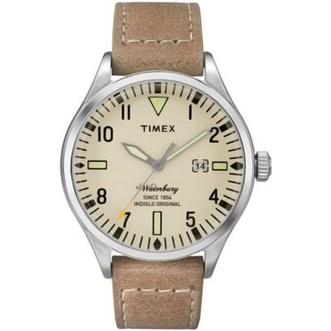 Timex TW2P83900 The Waterbury Men's Analog Display Quartz Watch, Tan Leather Band, Round 40mm Case