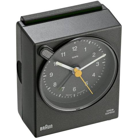 Braun BNC004GYGY Voice Activated Analog Display Quartz Alarm Clock, Grey Rectangle Case