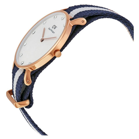 Daniel Wellington 0953DW Classy Glasgow Quartz Analog Women's Watch, NATO Nylon Band, Rose Gold 34mm Case