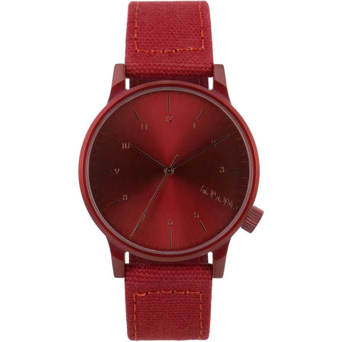Komono KOM-W2110 Unisex Winston Heritage Series Monotone Red Analog Display Quartz Watch, Red Canvas Band, Round 41mm Case