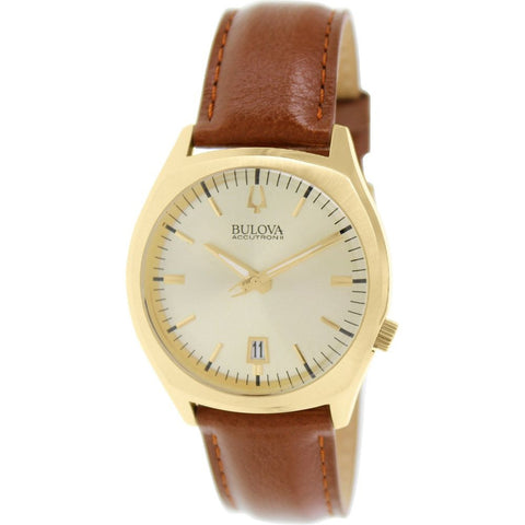 Bulova 97B132 Accutron II Surveyor Collection Analog Display Quartz Watch, Brown Leather Band, Round 41mm Case