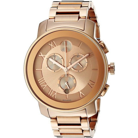 Movado 3600210 Bold Analog Display Chronograph Quartz Watch, Rose Gold Ion-Plated Stainless Steel Band, Round 40mm Case