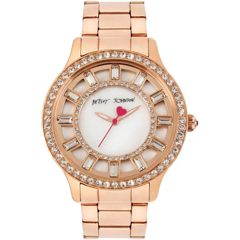 Betsey Johnson BJ00157-20 Women's Analog Display Quartz Watch, Rose Gold Stainless Steel Band, Round 40mm Case