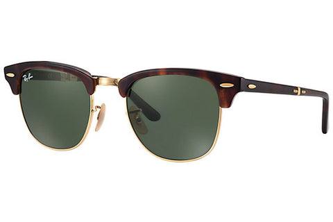 Ray-Ban RB2176 990 Clubmaster Folding Sunglasses, Tortoise Frame, Green 51mm Lenses