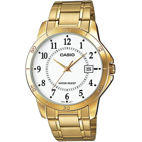 Casio MTP-V004G-7BUDF Analog Display Quartz Watch, Gold Stainless Steel Band, Round 41.5mm Case