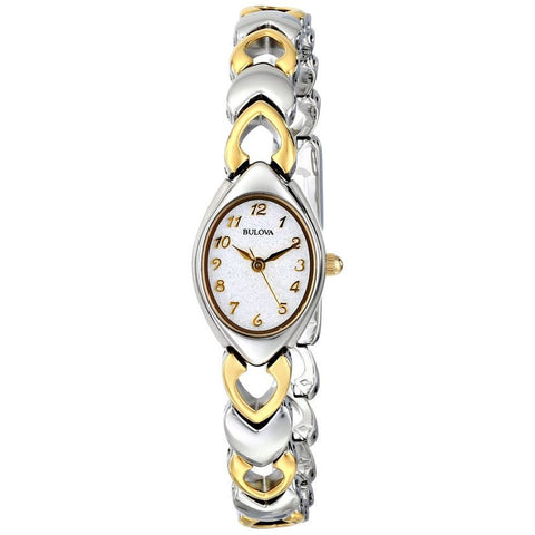 Bulova 98V02 Women's Classic Analog Display Quartz Watch, Two-tone Heart-shaped Stainless Steel Link Band, Oval 23mm Case
