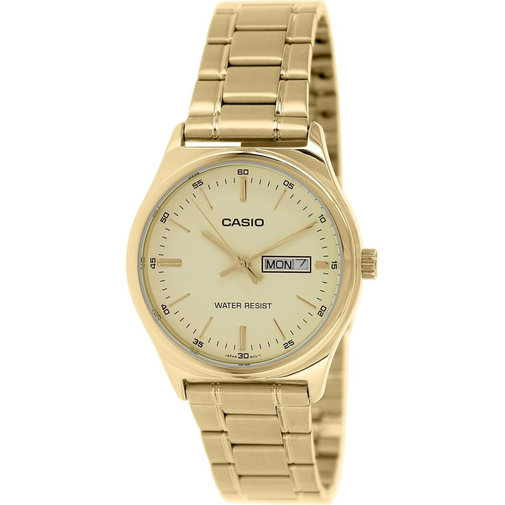Casio MTP-V003G-9AUDF Men's Analog Quartz Watch, Gold Ion Plated Stainless Steel Band, Round 38mm Case
