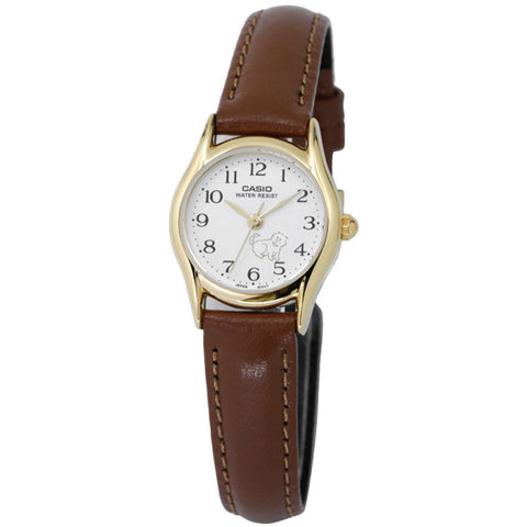 Casio LTP-1094Q-7B7RDF Analog Display Quartz Watch, Brown Leather Band, Round 23mm Case