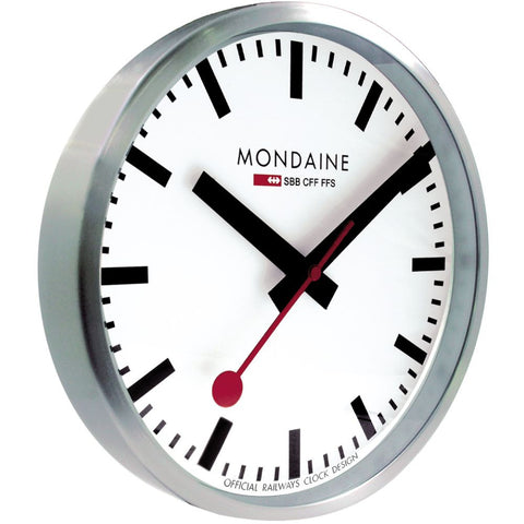 Mondaine A990.CLOCK.16SBB Analog Display Quartz Wall Clock, White Dial, Silver Stainless Steel Round 250mm Case