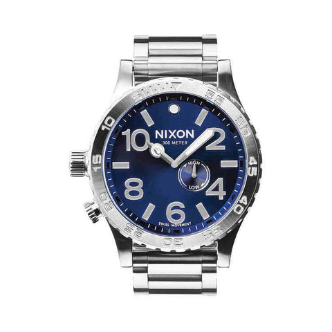 Nixon A0571258 Men's 51-30 Tide Blue Sunray Analog Watch, Silver Stainless Steel Band, Round 51mm Case