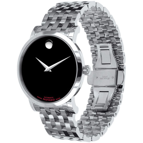 Movado 0606283 Red Label Analog Display Automatic Watch, Silver Stainless Steel Band, Round 42mm Case