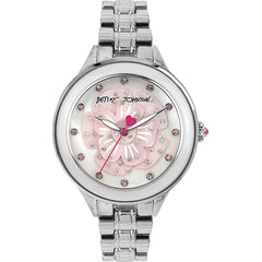 Betsey Johnson BJ00469-01 Women's Analog Display Quartz Watch, Silver Stainless Steel Band, Round 40mm Case